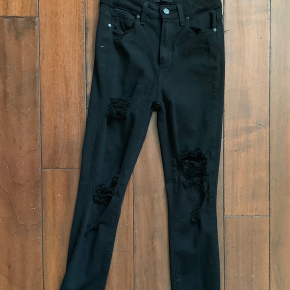 PAIGE Denim - High Waisted Destroyed Black Jeans